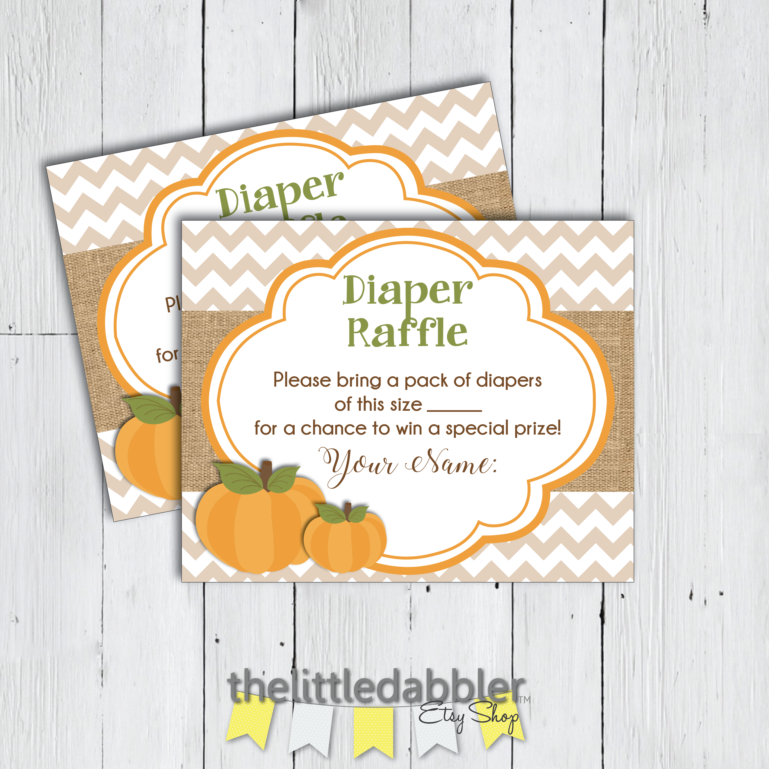 Fall Baby Shower Diaper Raffle Ticket from TheLittleDabbler Etsy Shop