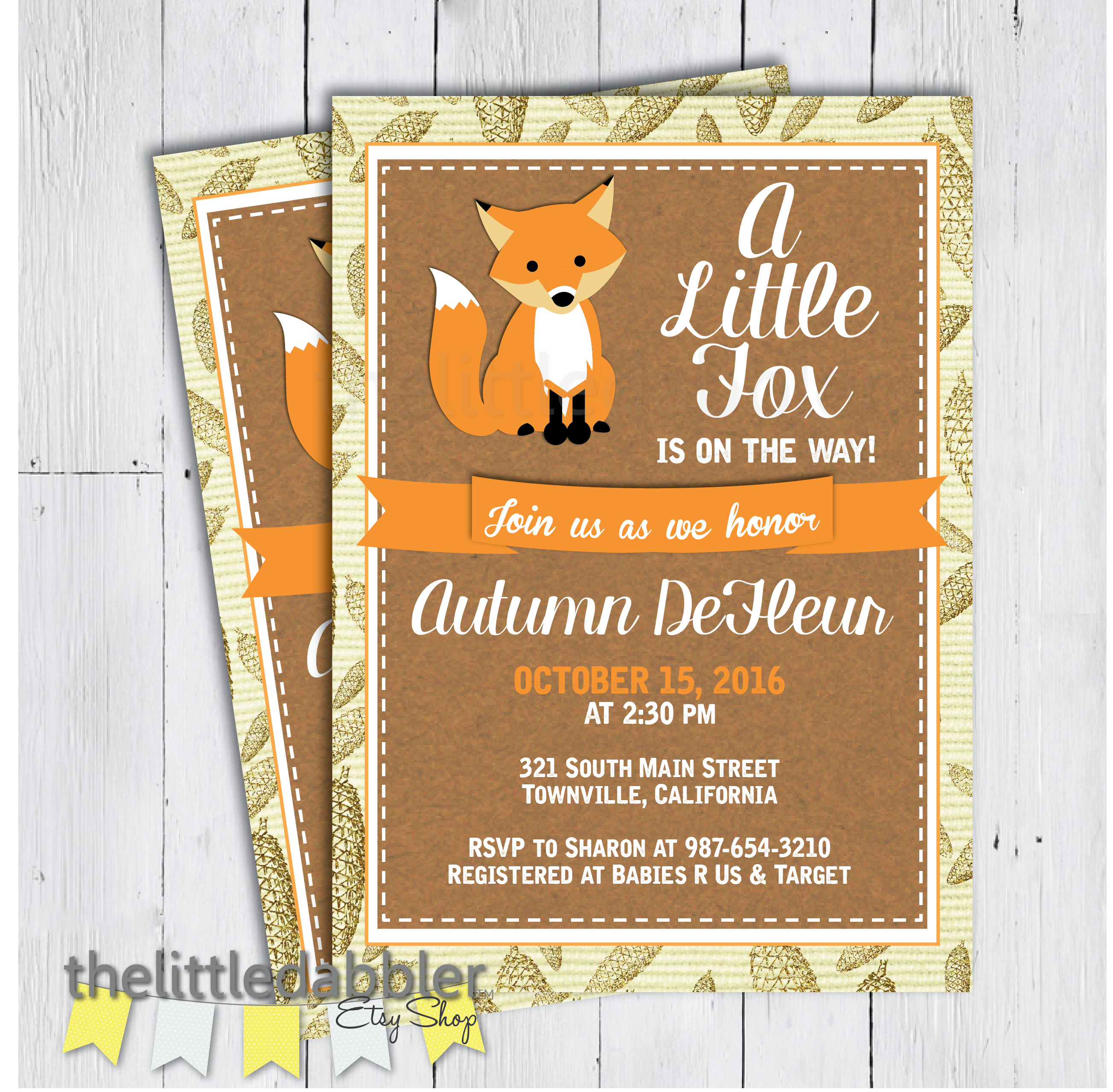 Fall Baby Shower Invitation from TheLittleDabbler Etsy Shop